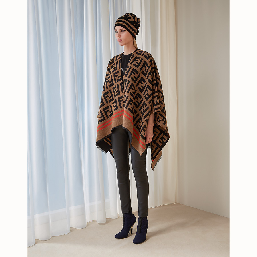 FENDI FF PONCHO - Multicolour wool and silk poncho - view 4 detail