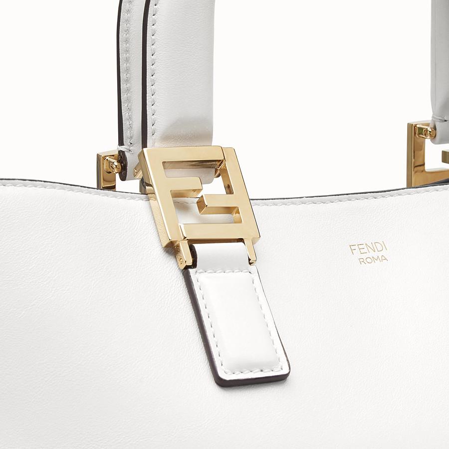 FENDI FF 中型手提袋。 - 白色皮革手袋 - view 6 detail