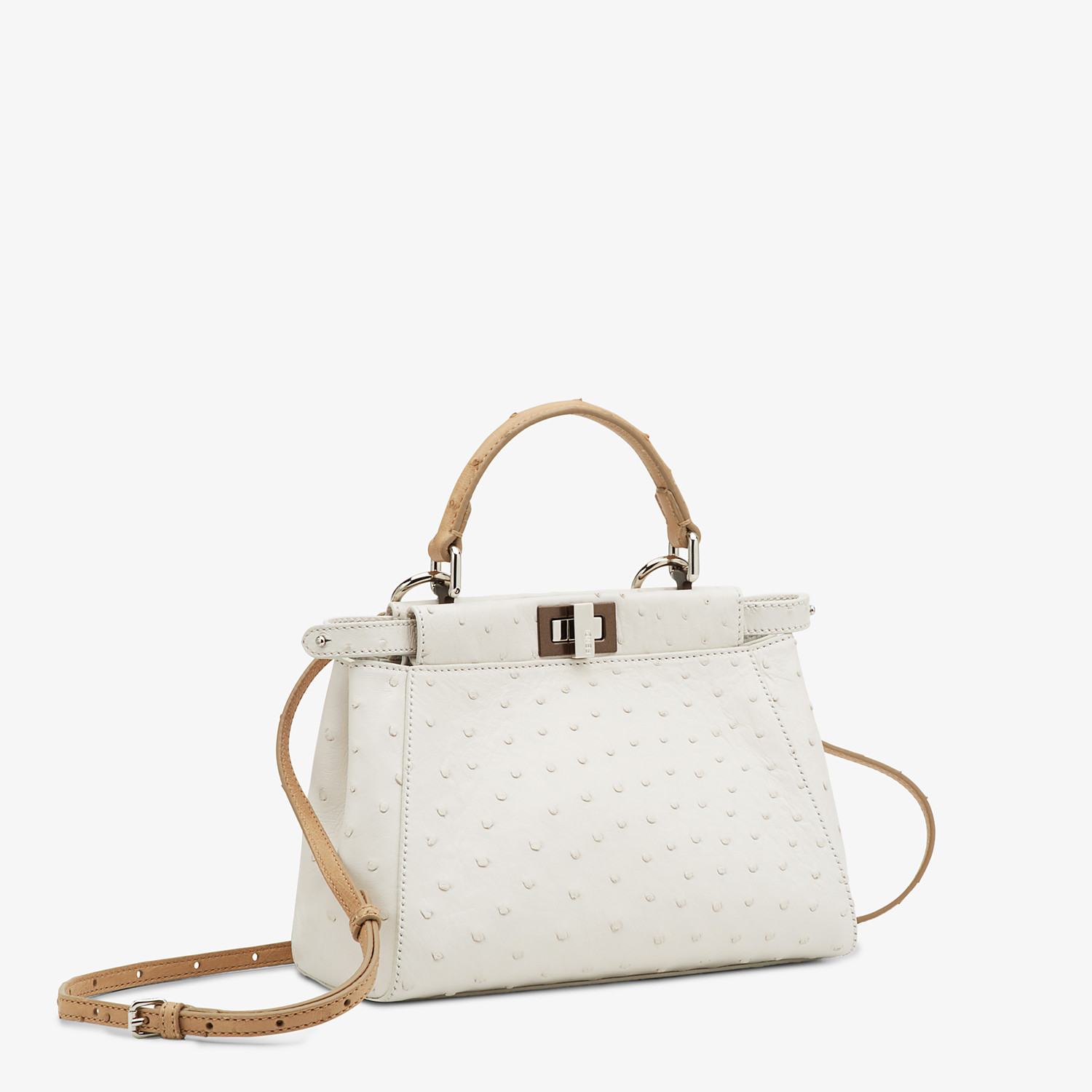 FENDI PEEKABOO ICONIC MINI - White ostrich leather bag - view 2 detail