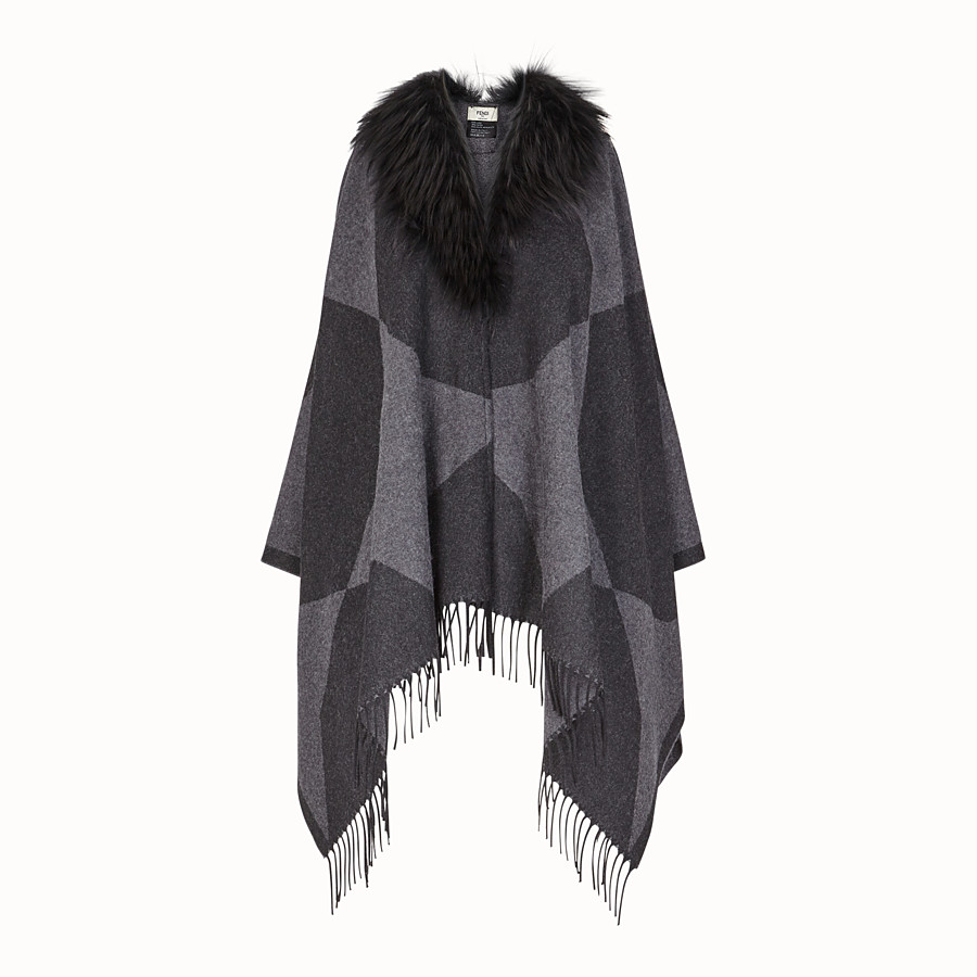 FENDI TOUCH OF FUR PONCHO - Black wool poncho - view 1 detail
