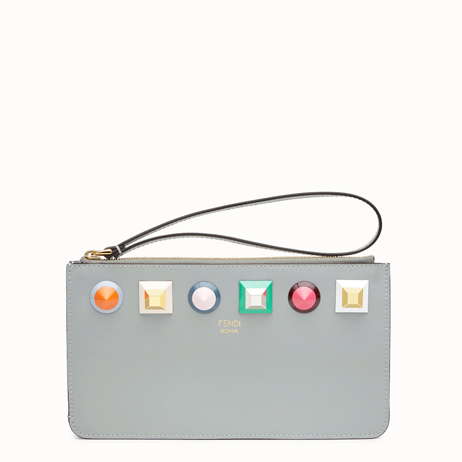 FENDI FLAT CLUTCH - Grey leather pouch - view 1 detail