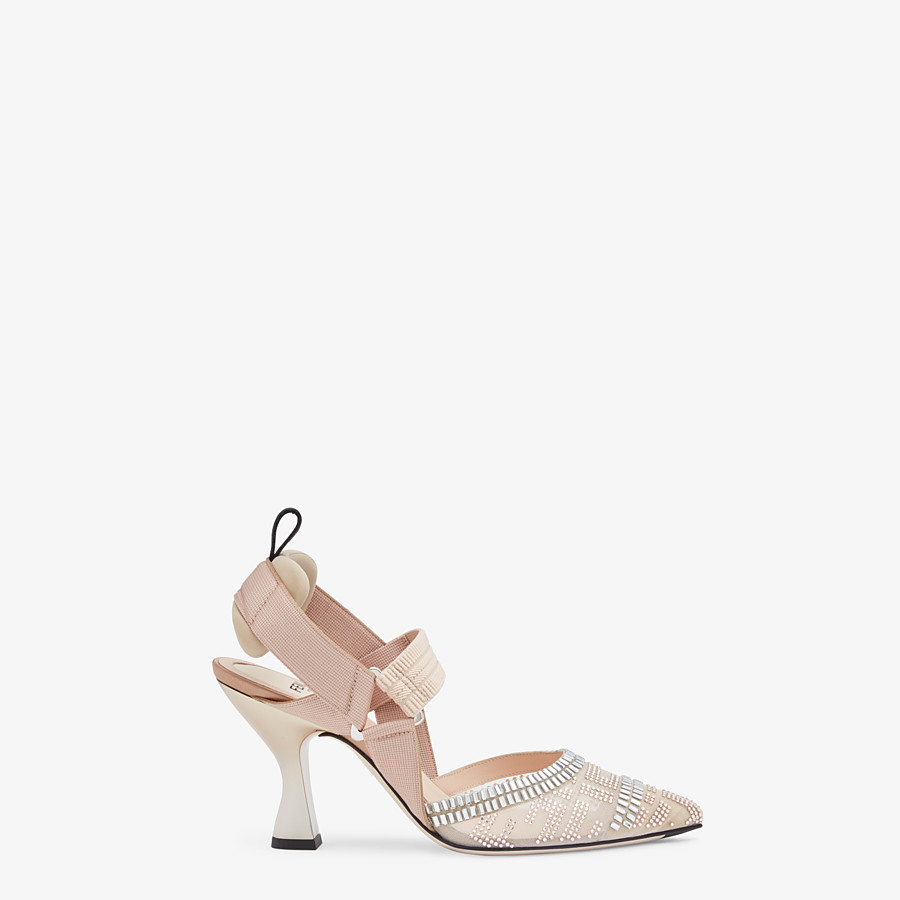FENDI SLINGBACKS - Colibrì in nude mesh and leather - view 1 detail