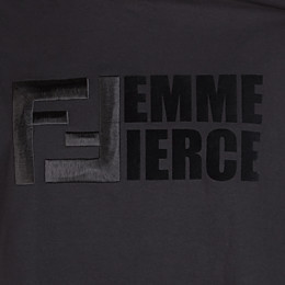 FENDI T-SHIRT - Black cotton T-shirt - view 3 thumbnail