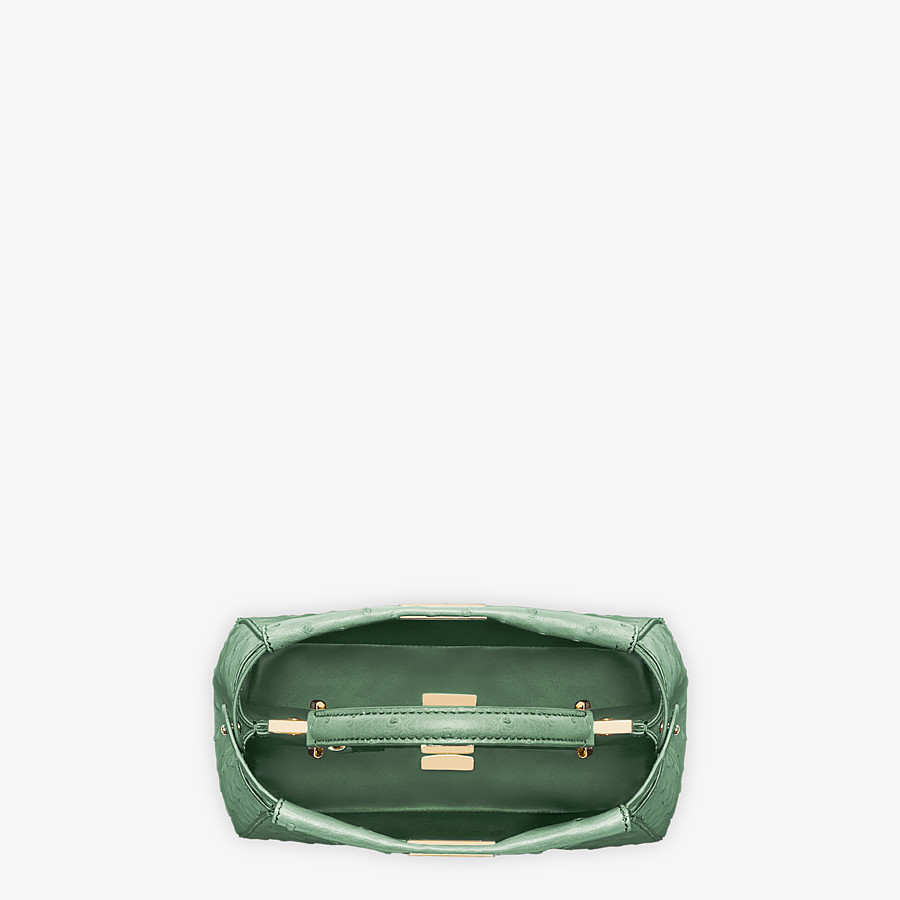 FENDI PEEKABOO ICONIC MINI - Green ostrich leather bag - view 4 detail