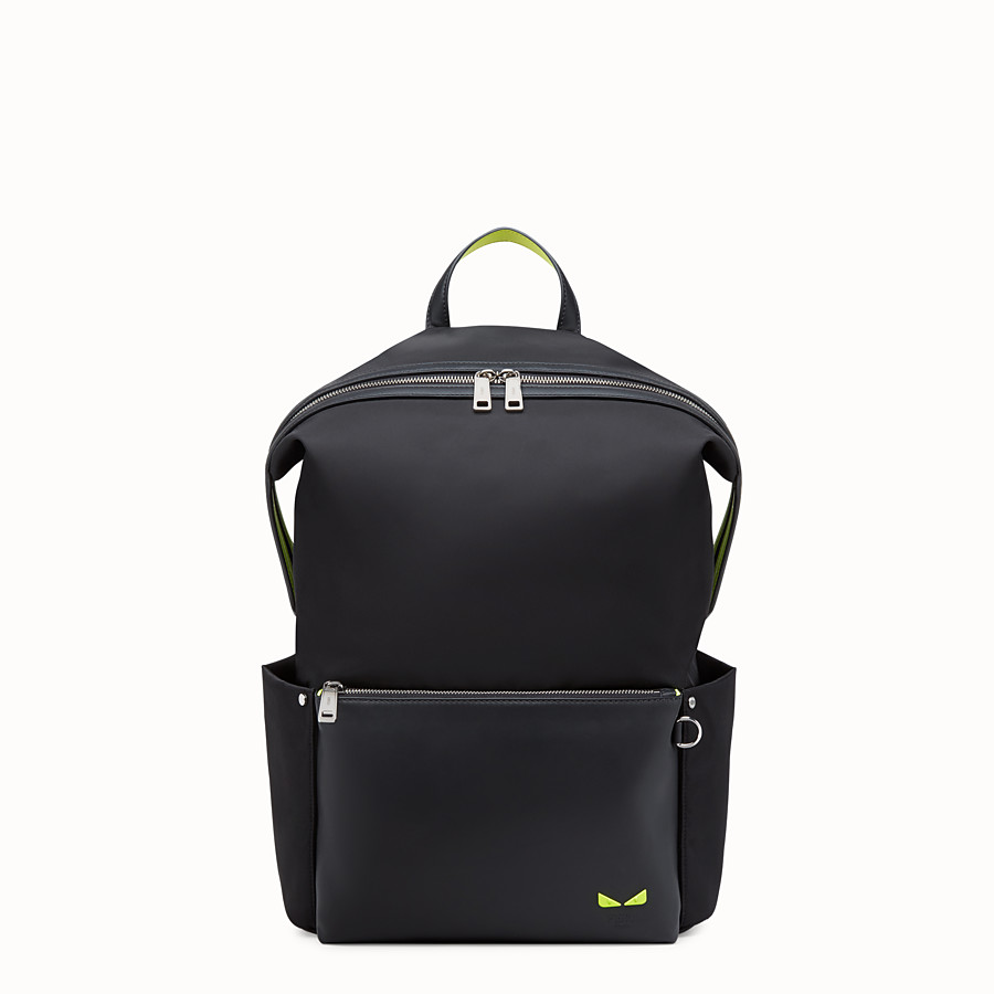 FENDI BACKPACK - Black leather and nylon backpack - view 1 detail