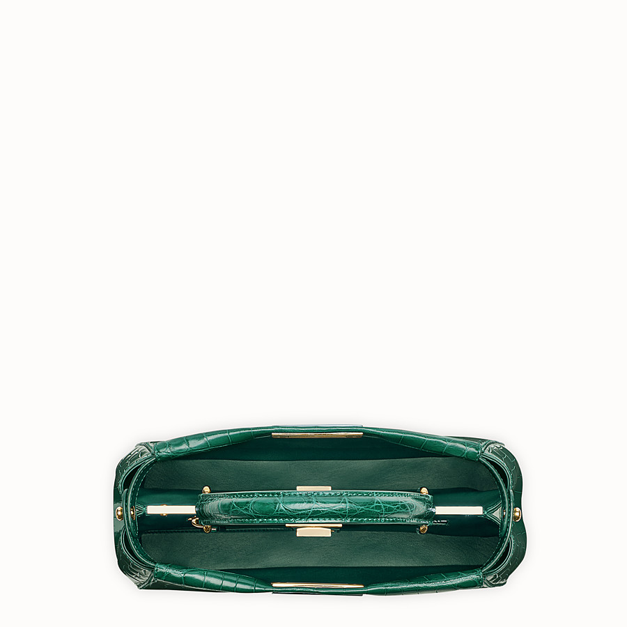 FENDI PEEKABOO REGULAR - Emerald green crocodile leather handbag. - view 4 detail