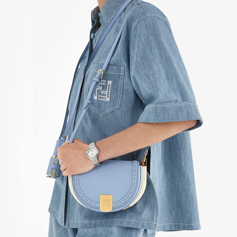FENDI MOONLIGHT - Light blue leather bag - view 2 detail