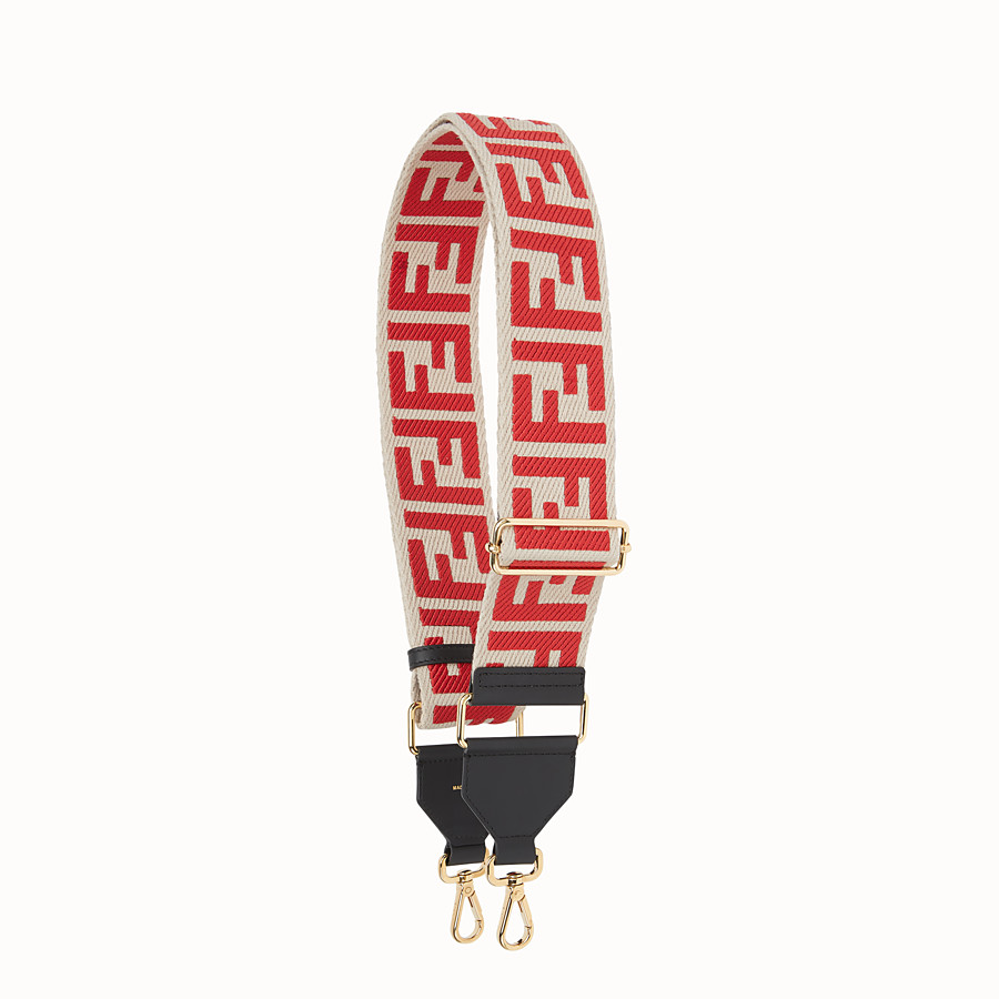 FENDI STRAP YOU - White canvas shoulder strap. - view 1 detail