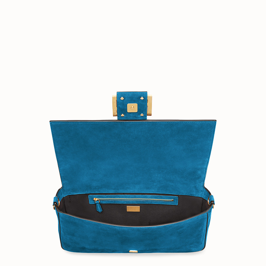 FENDI BAGUETTE LARGE - Light blue suede bag - view 5 detail