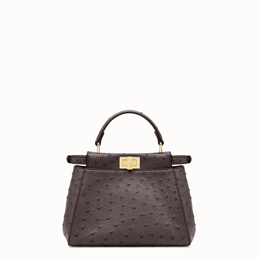 FENDI PEEKABOO MINI - Brown ostrich leather handbag. - view 3 detail