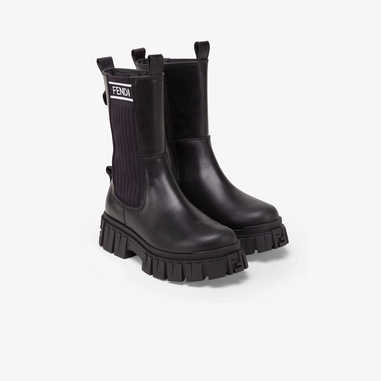 FENDI JUNIOR BIKER BOOTS - Black leather junior biker boots - view 2 detail