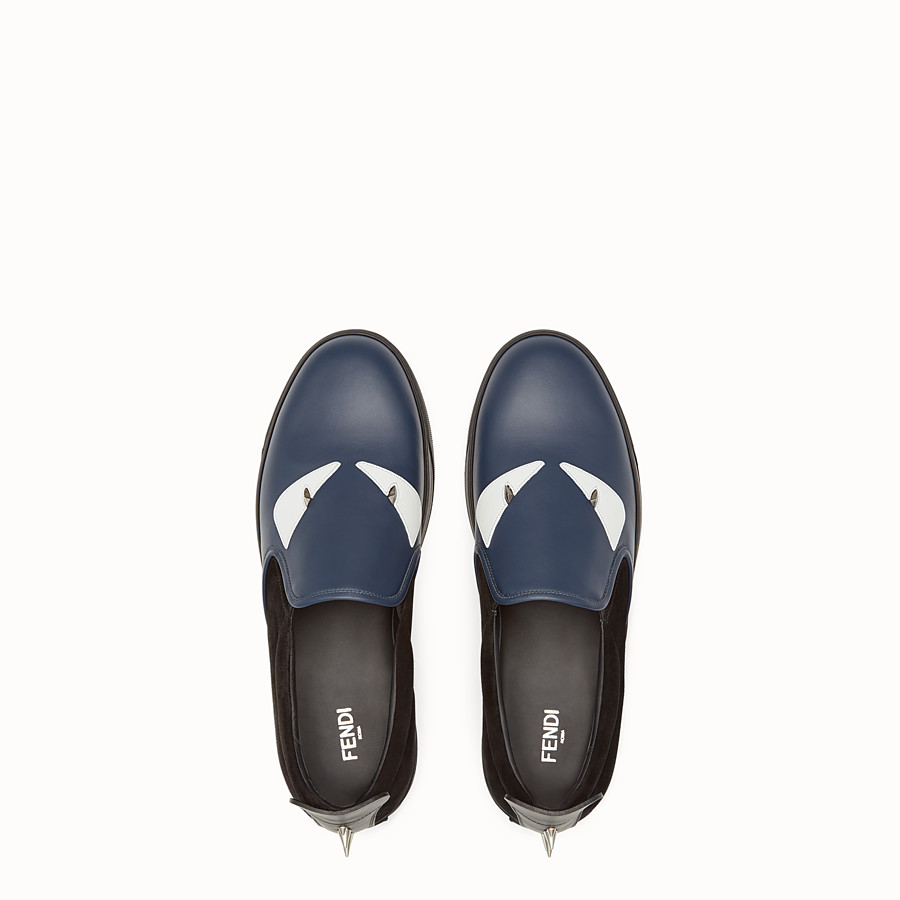 FENDI SNEAKER - Slip-ons in blue leather and black suede - view 4 detail