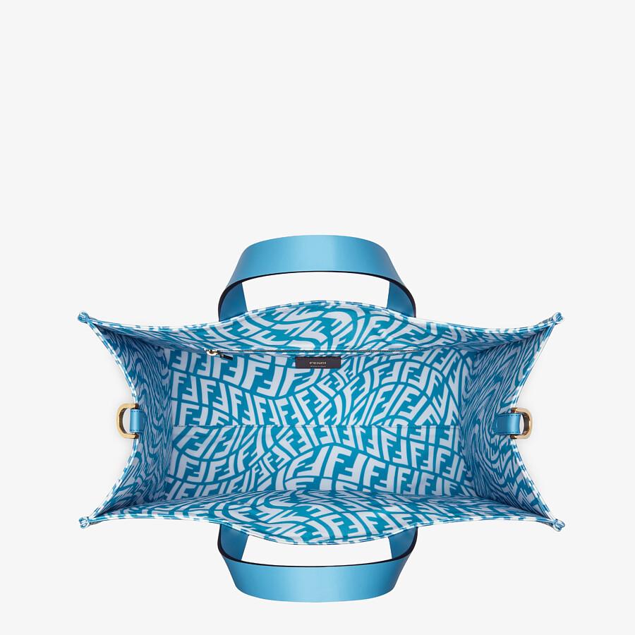 FENDI SHOPPER - Blue glazed canvas bag - view 5 detail