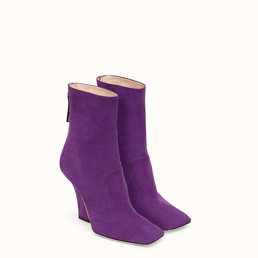 FENDI BOOTS - Purple nubuck booties - view 4 detail