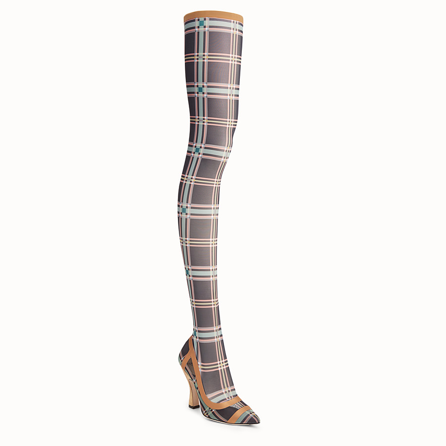FENDI THIGH-HIGH BOOTS - Multicolour mesh and tulle boots - view 2 detail
