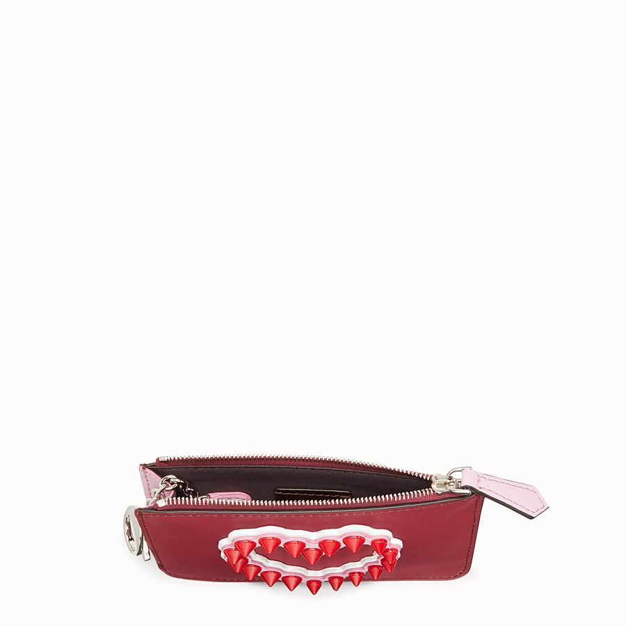 FENDI KEYRING POUCH - Red leather pouch - view 4 detail