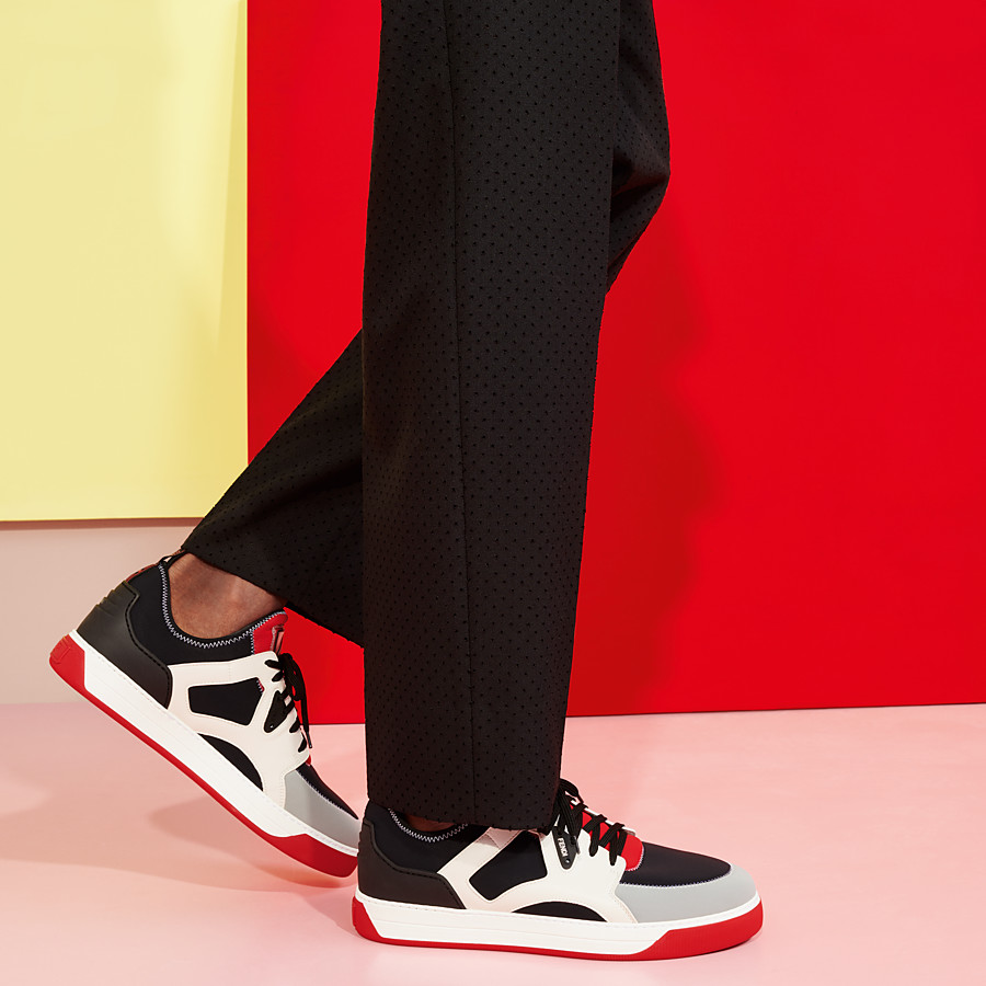 FENDI SNEAKERS - Multicolour leather and fabric low-top - view 5 detail