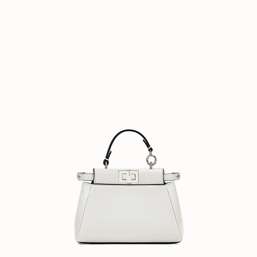 FENDI MICRO PEEKABOO - micro bag in white leather - view 1 detail