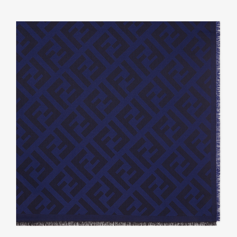 FENDI SCIALLE FF - Scialle in lana e cachemire blu - vista 1 dettaglio