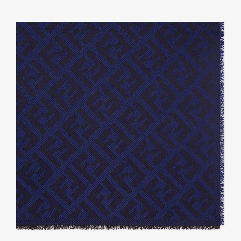 FENDI FF SHAWL - Blue wool and cashmere shawl - view 1 detail