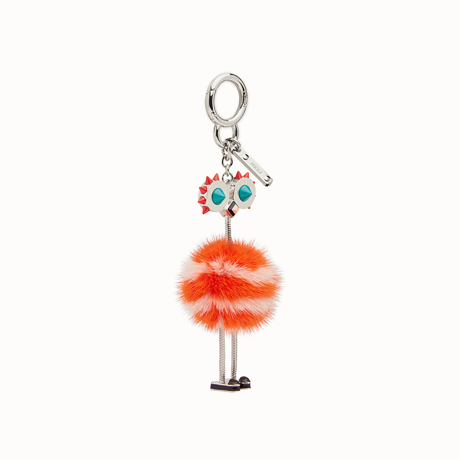 FENDI CHICK BAG CHARM - Charm in pink and orange fur - view 1 detail