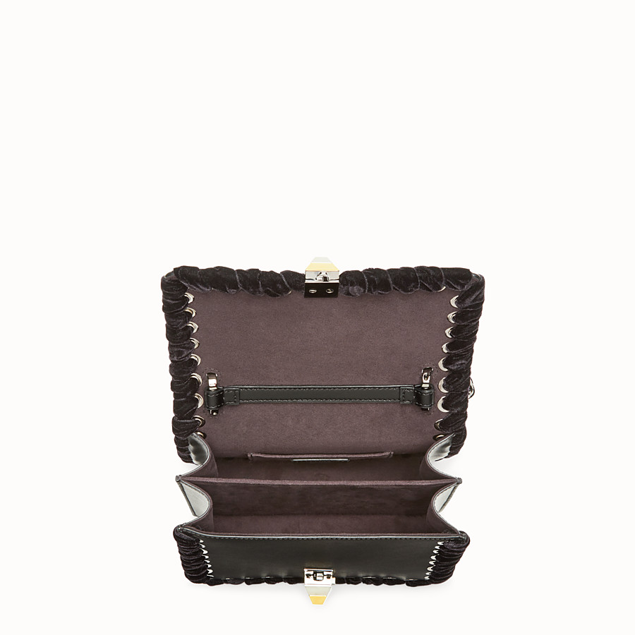FENDI KAN I SMALL - Black leather mini bag with rhinestones - view 4 detail
