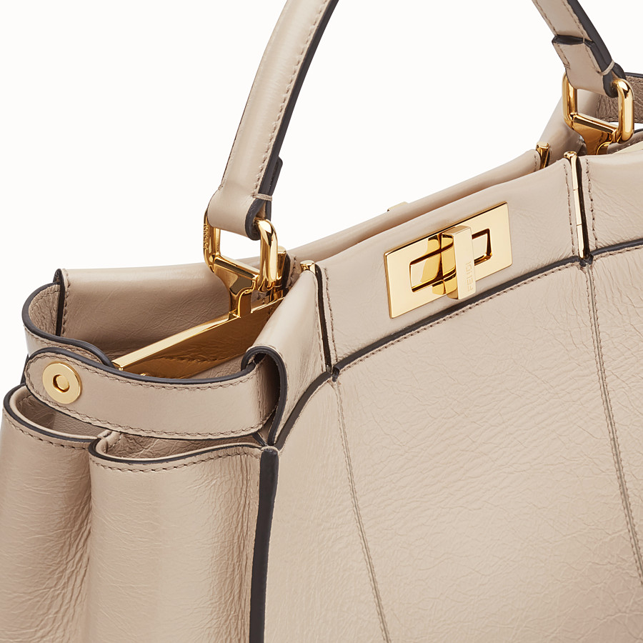 FENDI PEEKABOO ICONIC LARGE - Beige leather bag - view 7 detail