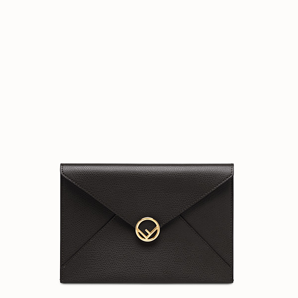 FENDI MEDIUM FLAT POUCH - Black leather pouch - view 1 small thumbnail