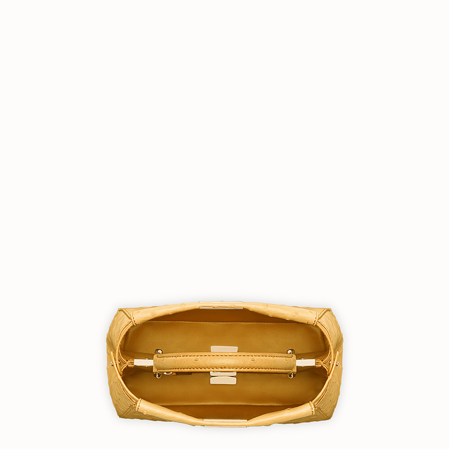 FENDI PEEKABOO MINI - Yellow ostrich leather handbag. - view 4 detail