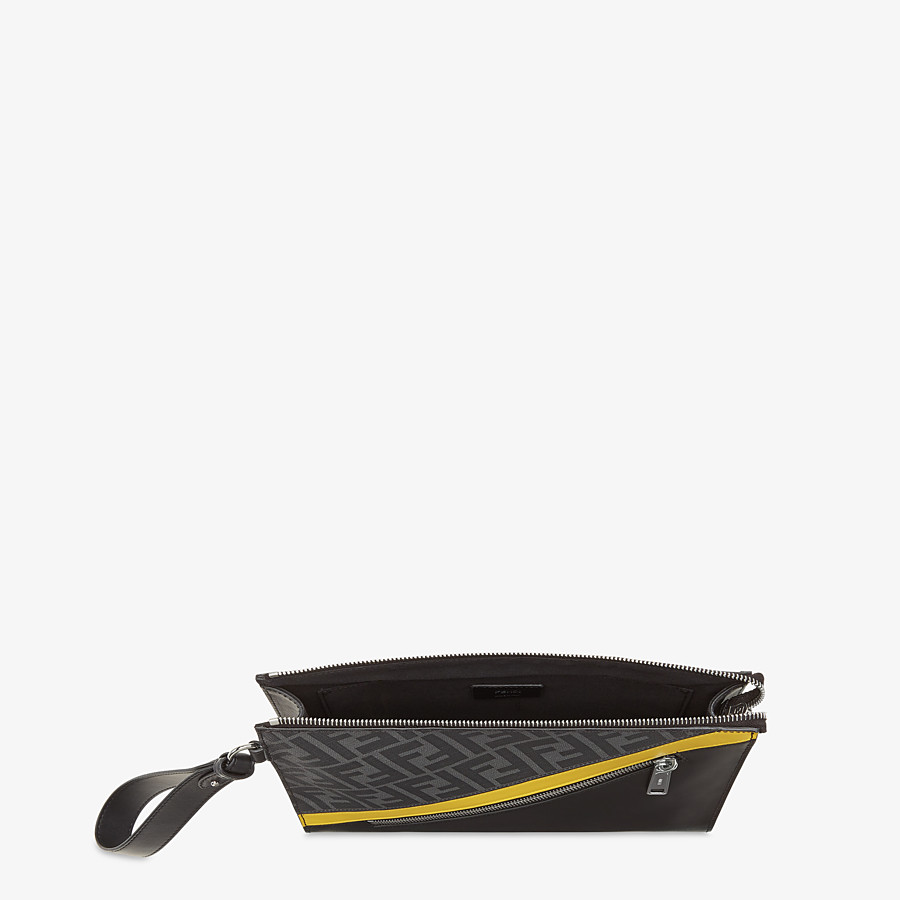 FENDI FLAT POUCH - Gray fabric pouch - view 4 detail