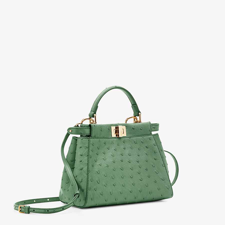 FENDI PEEKABOO ICONIC MINI - Green ostrich leather bag - view 2 detail