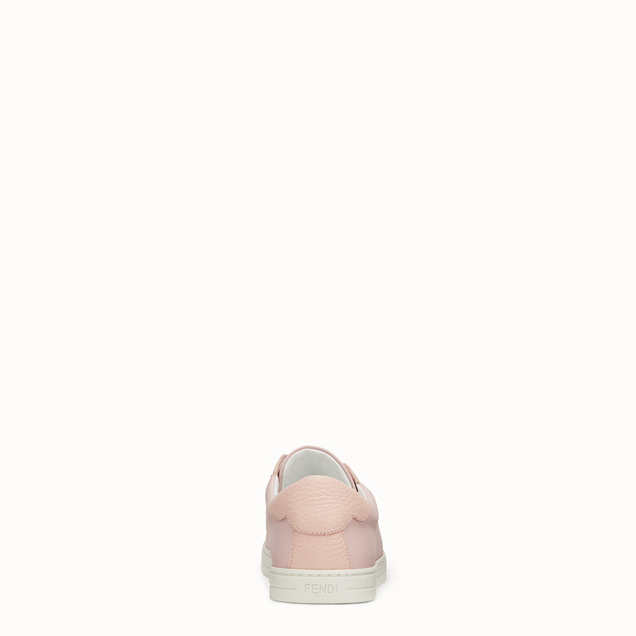 FENDI SNEAKERS - Pink leather slip-ons - view 3 detail
