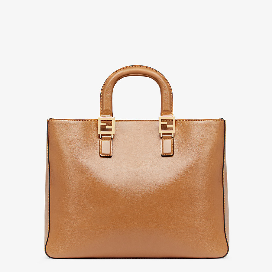 FENDI FF TOTE MEDIUM - Brown leather bag - view 3 detail