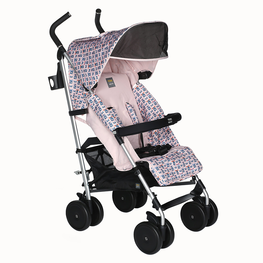 FENDI STROLLER - Pink stroller in fire-resistant material with monster pattern - view 2 detail