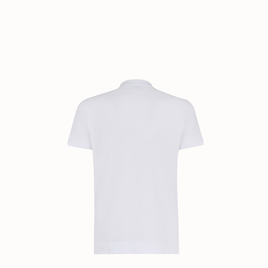 FENDI T-SHIRT - White piqué polo shirt - view 2 detail