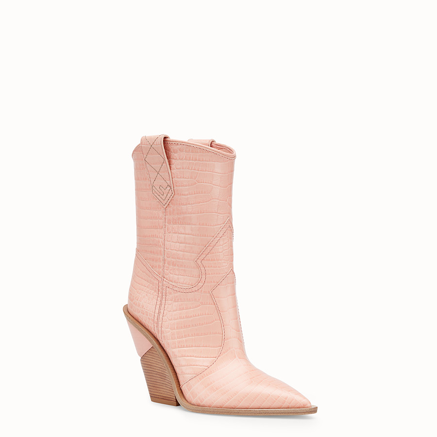FENDI BOOTS - Pink crocodile-embossed ankle boots - view 2 detail