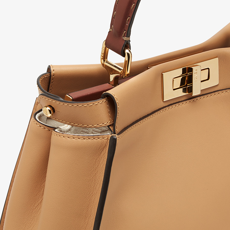 FENDI PEEKABOO ICONIC MEDIUM - Beige leather and FF embroidery bag - view 6 detail