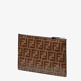FENDI MITTELGROSSE FLACHE POCHETTE - Kleine flache Tasche aus Stoff in Braun - view 2 thumbnail