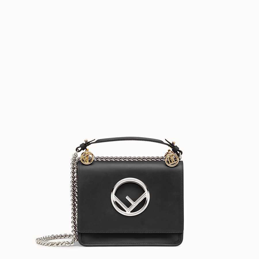 Black leather mini-bag - WALLET ON CHAIN