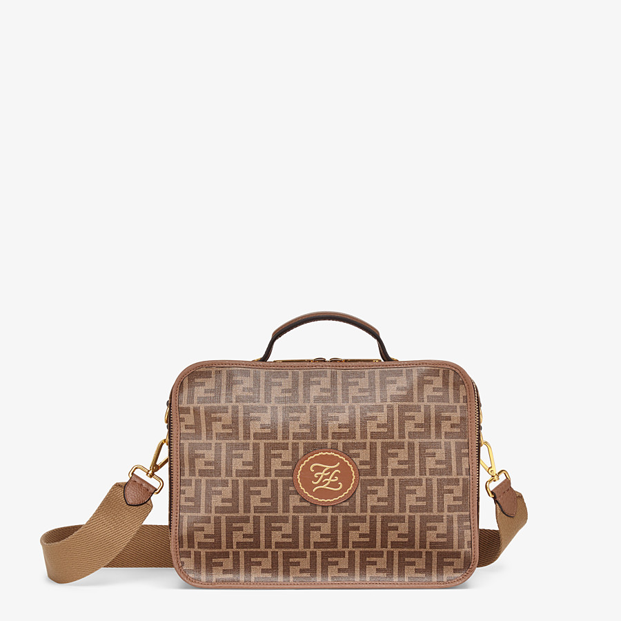 FENDI SMALL TRAVEL BAG - Large brown fabric bag - view 1 detail
