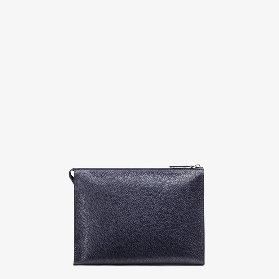 FENDI CLUTCH - Blue leather pochette - view 3 detail