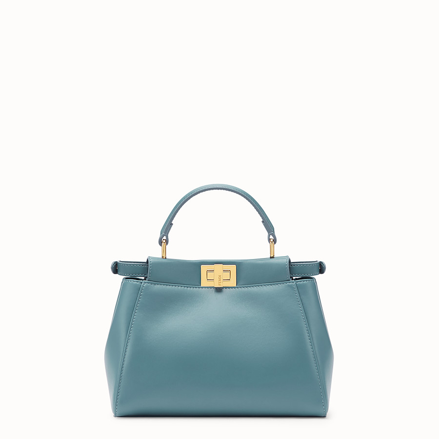 FENDI PEEKABOO ICONIC MINI - Tasche aus Leder in Blau - view 3 detail