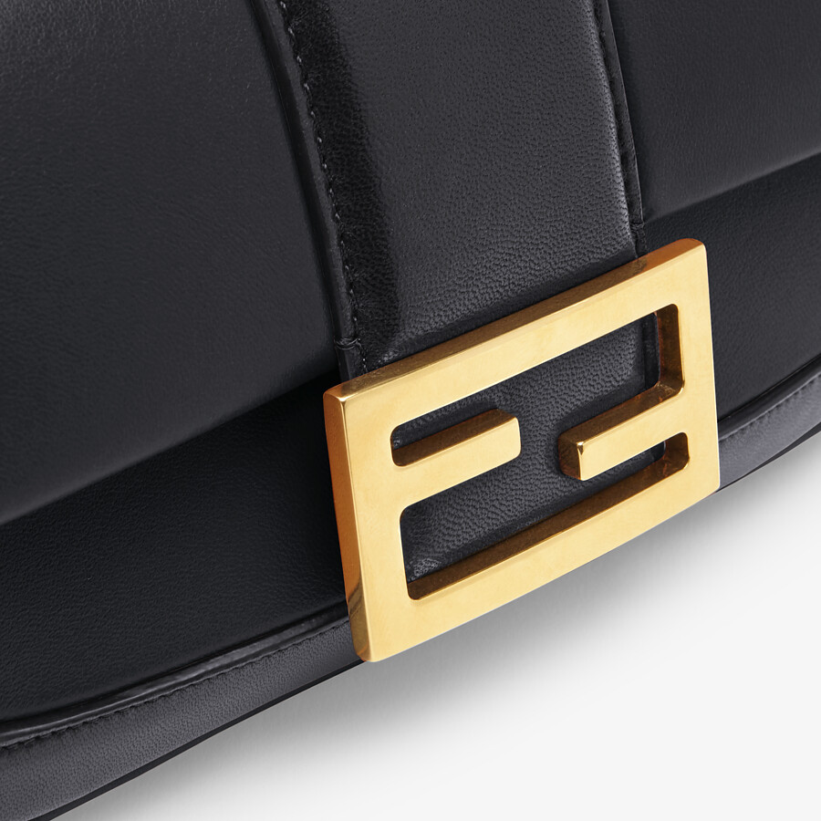 FENDI MINI BAGUETTE CHAIN - Black nappa leather bag - view 5 detail