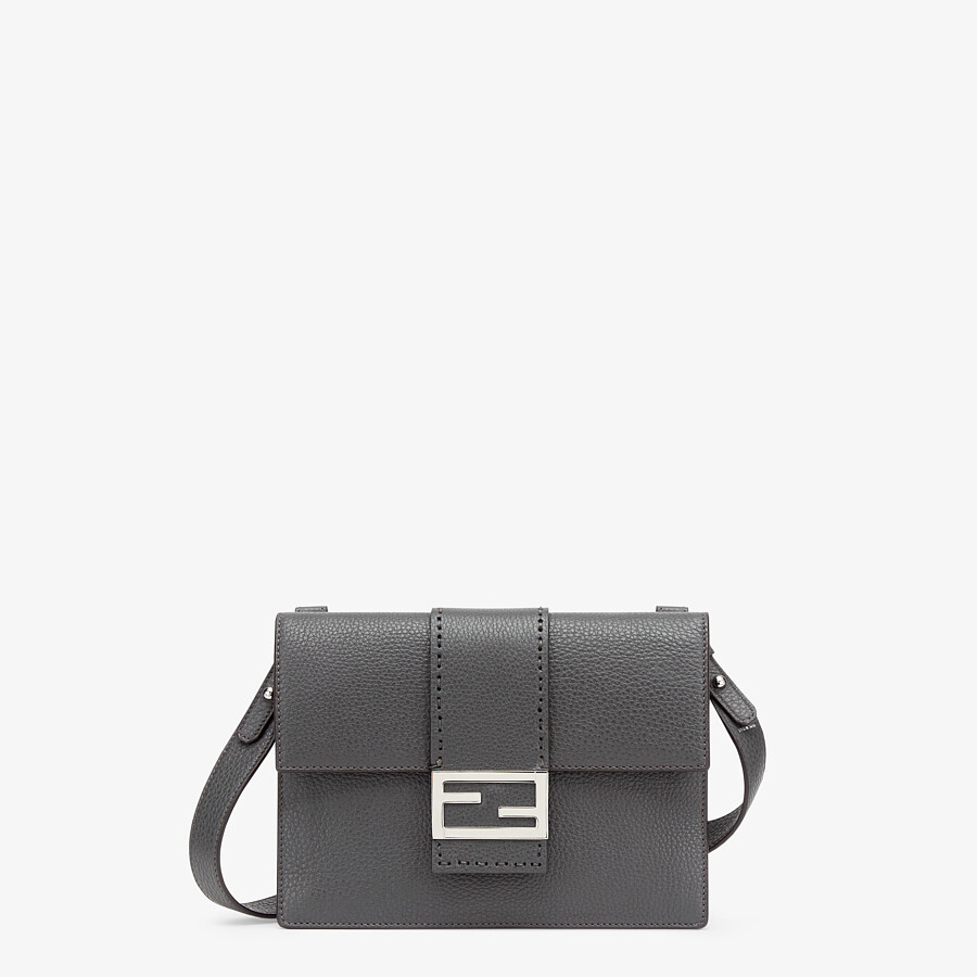 FENDI FLAT BAGUETTE - Gray leather bag - view 1 detail