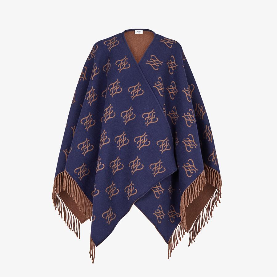 FENDI KARLIGRAPHY PONCHO - Blue wool poncho - view 1 detail