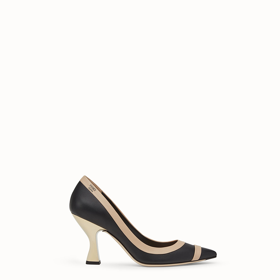 FENDI COURT SHOES - Black nappa leather court shoes - view 1 detail