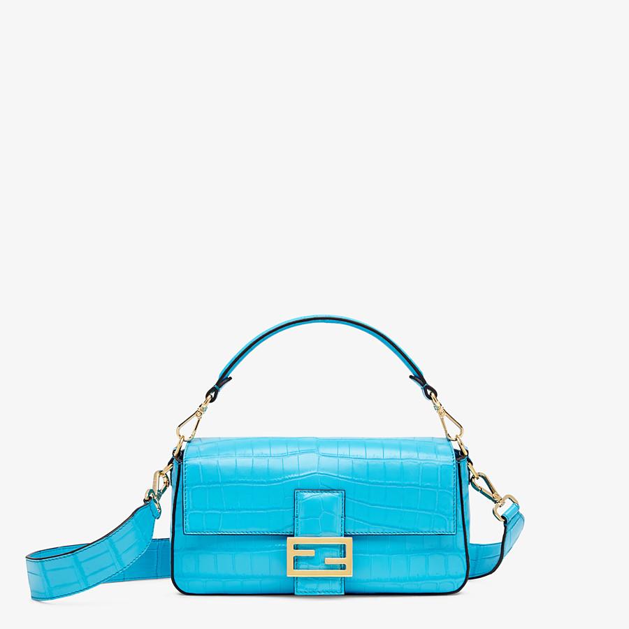 FENDI BAGUETTE - Light blue crocodile leather bag - view 1 detail