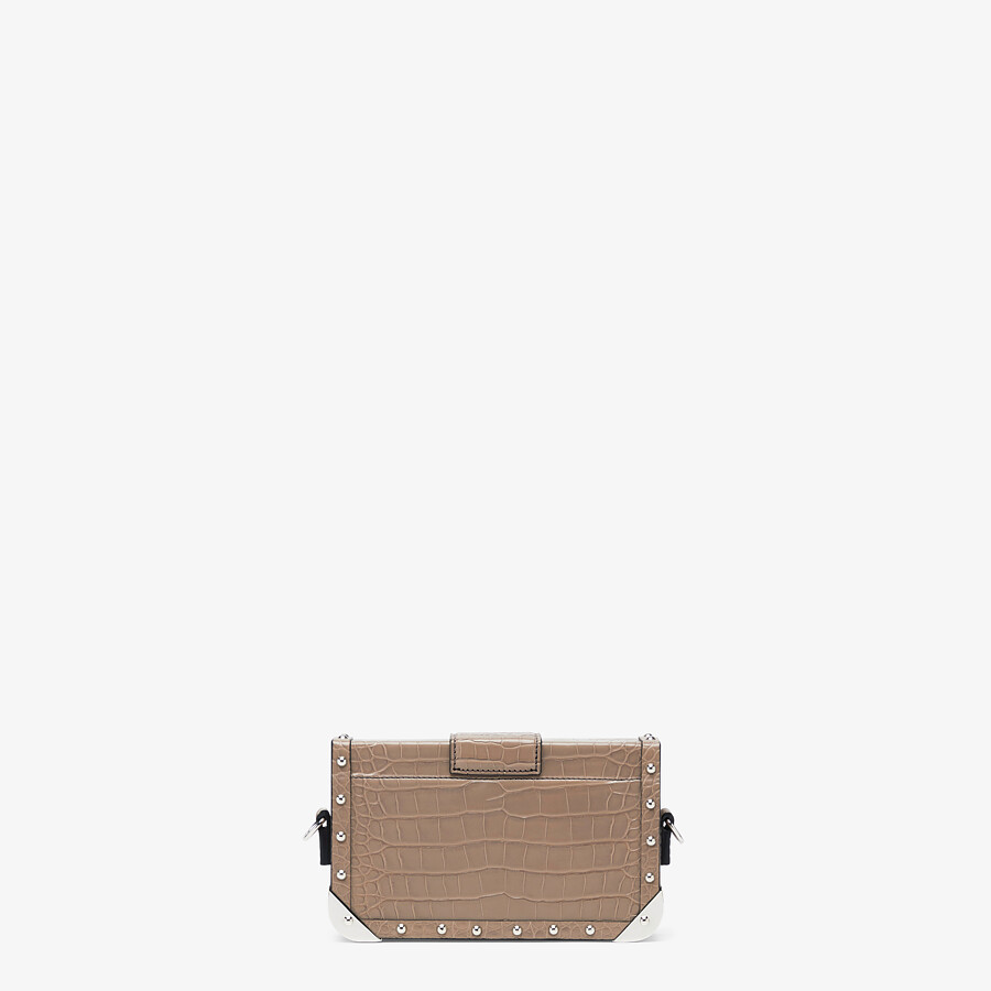 FENDI BAGUETTE TRUNK MINI - Beige alligator leather bag - view 3 detail