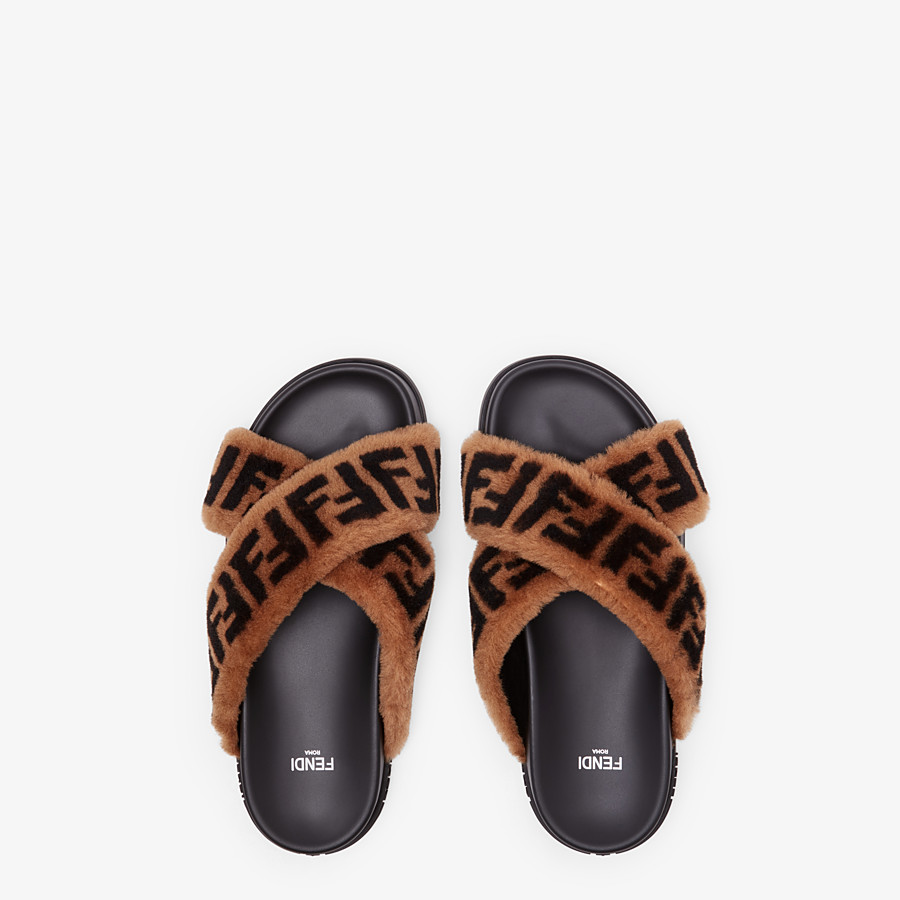 FENDI SLIDES - Brown sheepskin slides - view 4 detail
