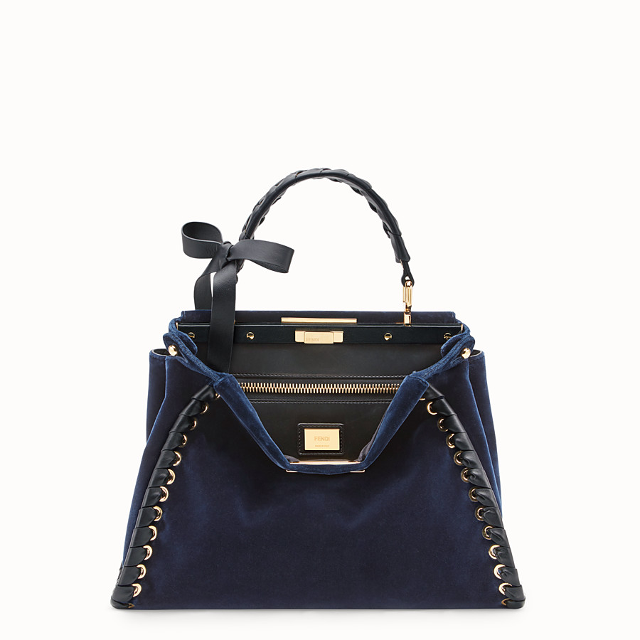 FENDI PEEKABOO REGULAR - Blue velvet bag - view 1 detail